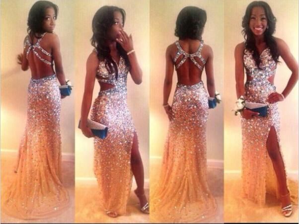 Sparking Crystals Champagne Prom Dresses Sexy Spaghetti Straps ...