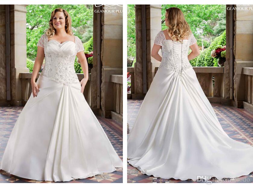 Discount 2015 Elegant Beaded Satin Plus Size Wedding Dresses With Short Sleeves Corset Bridal