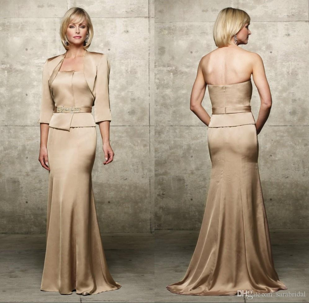 Champagne Soft Satin Mother Of The Bride Groom Dresses With ...