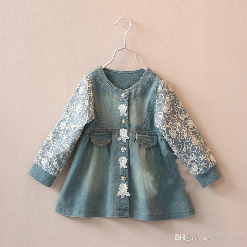 Children'S Denim Jacket Baby Girls Korea Lace Sleeve Round Collar ...