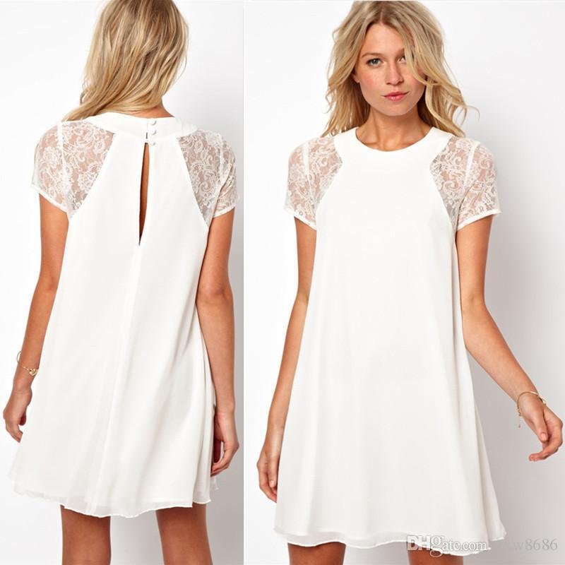 2015 Women Chiffon White Dress Sexy Short Sleeve Lace Insert Loose ...