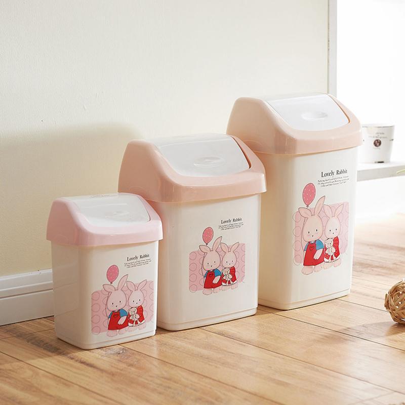 2017 shun us plastic trash creative cute pink rabbit debris bucket toilet roll cover household - Pink kitchen trash can ...