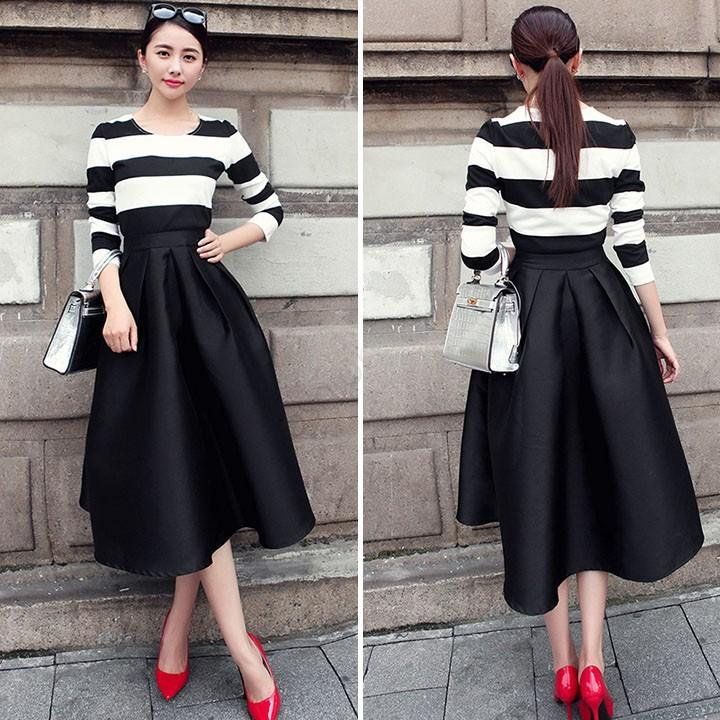 Best 2015 Fashion Women Vintage Style Pleated Flare Puff Skirt ...