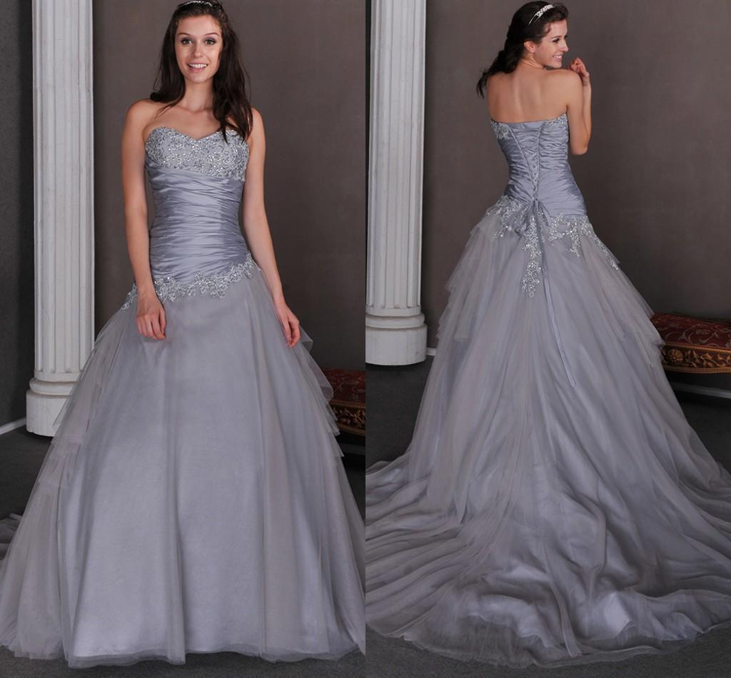 2015 Cheap Silver Grey Ball Gown Princess Colorful Wedding