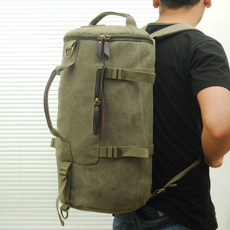 Wholesale Men'S Travel Bags Cylinder Men Canvas Travel Bag Travel ...