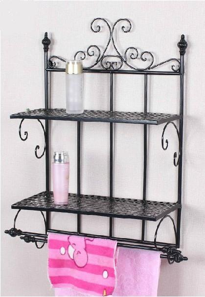 2017 Wrought Iron Bathroom Shelf Hanging Towel Rack Sanitary Ware Receive Rack Shelf In