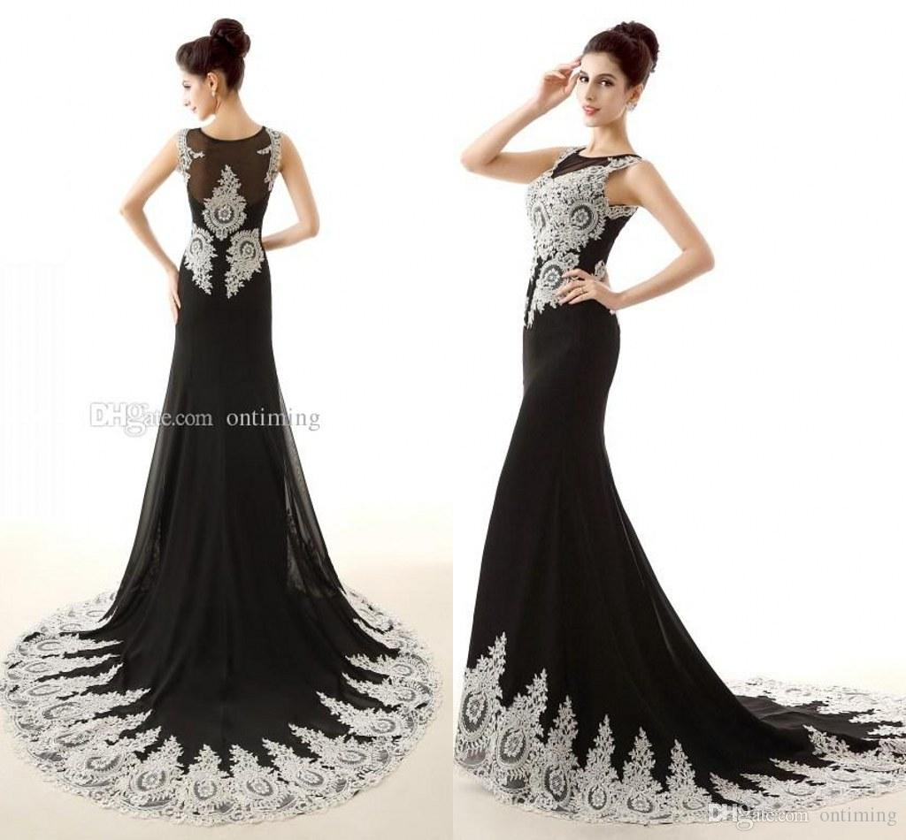 2015 Elegant Black Mermaid Prom Dresses Sexy Sheer Crew Neck ...