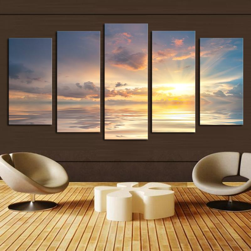 2017 Home Decor 5 Panel Sunrise Clouds Painting High
