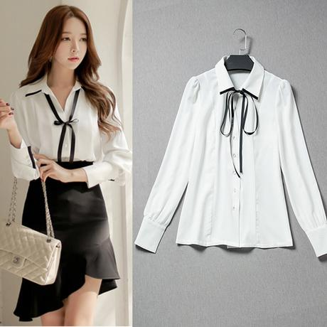 Formal Office Blouses with Bow Ribbon Shirt Women White Linen ...