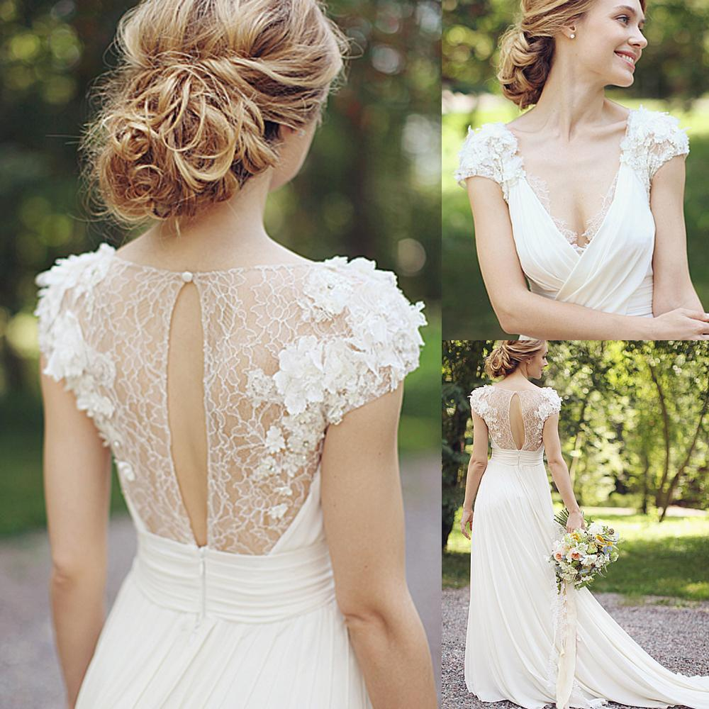 Discount Greek Chiffon Spring Beach Wedding Dresses 2015