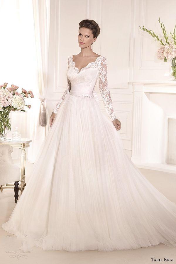 Discount Tarik Ediz Romantic Wedding Dresses Designer A Line Lace ...