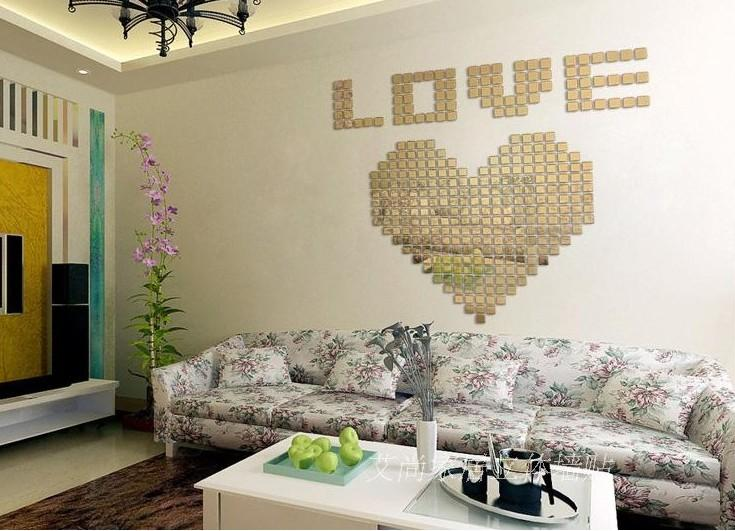 Small Square Mosaic Home Decoration Diy Stereo The Mirror Wall Stickers Tv Fashion Silver 3d Wall Stickers Home Decor Mosaic Cloud Wall Decals Cloud Wall