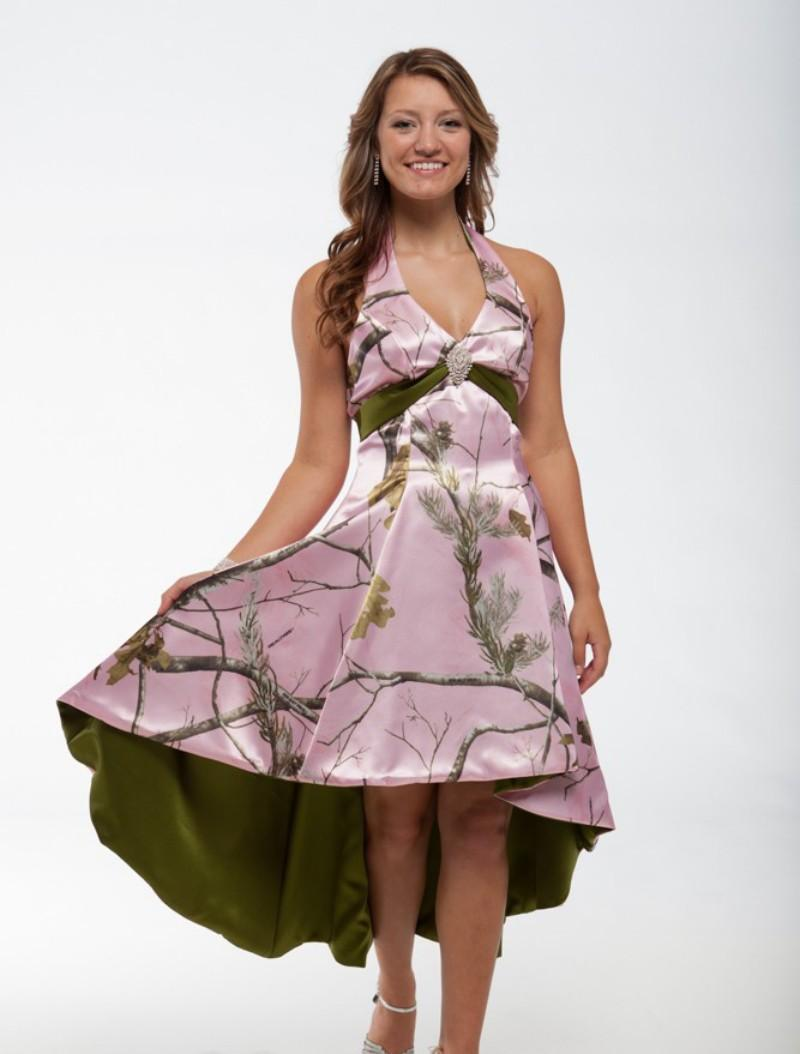 Discount camo wedding dresses halter neckline backless for Camo ribbon for wedding dress