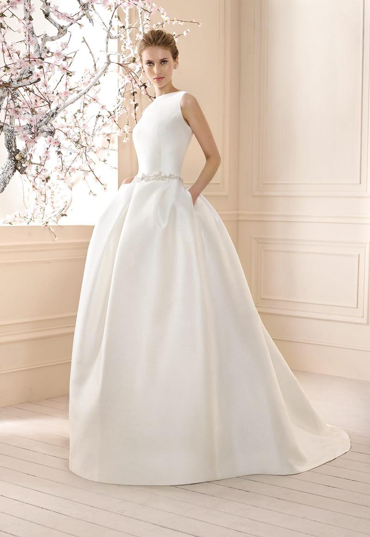 2016 Elegant Beading Sash Satin Wedding Dresses With