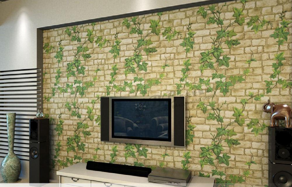 2015 New 3D Self Adhesive Wallpaper Leaf Stone Brick
