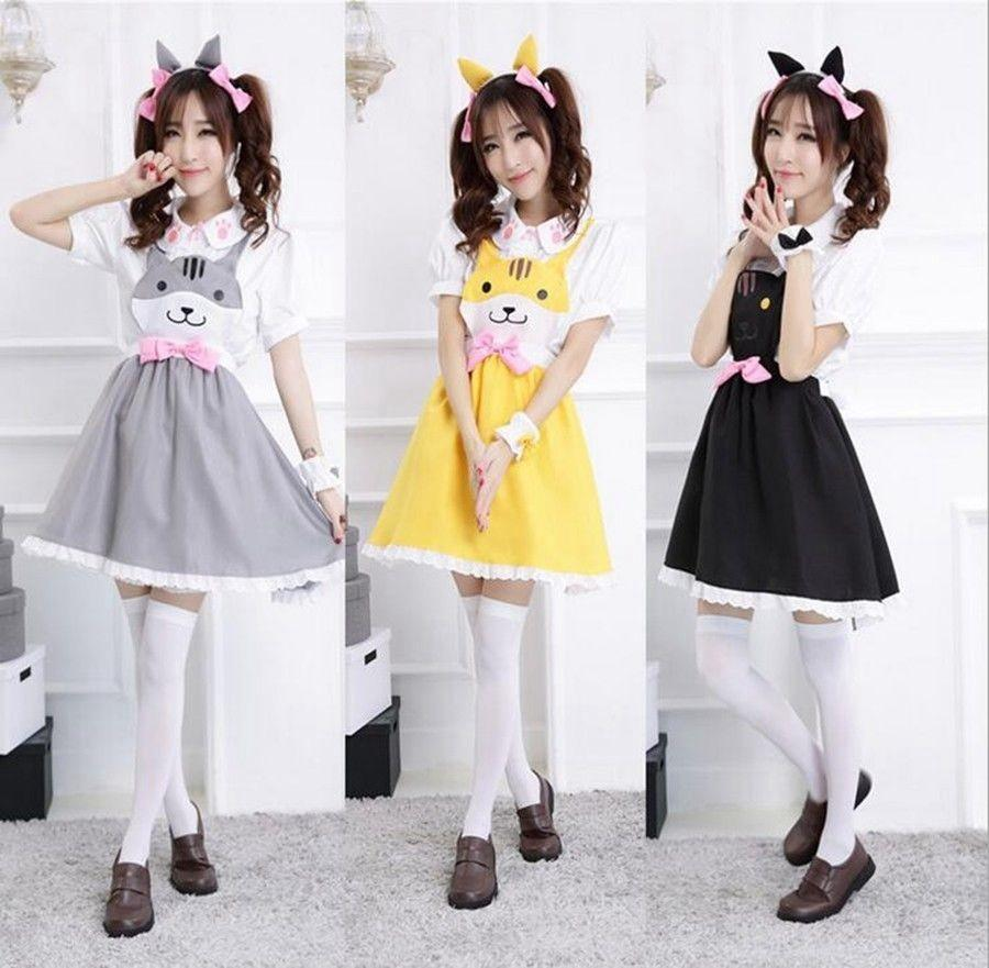Neko Atsume Dress Anime Cat Backyard Cosplay Costume Lovely Girls Cat Maid Blouse+Vest Dress ...