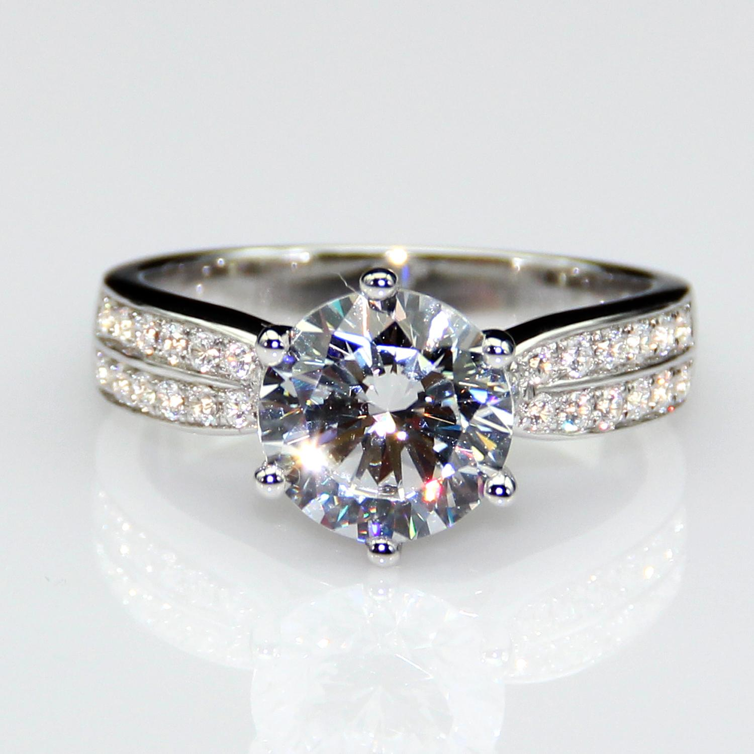 2ct Diamond Rings Lonze Diamond Engagement Rings Micro Pave Solitaire  Accents 925 Sterling Silver Plated White