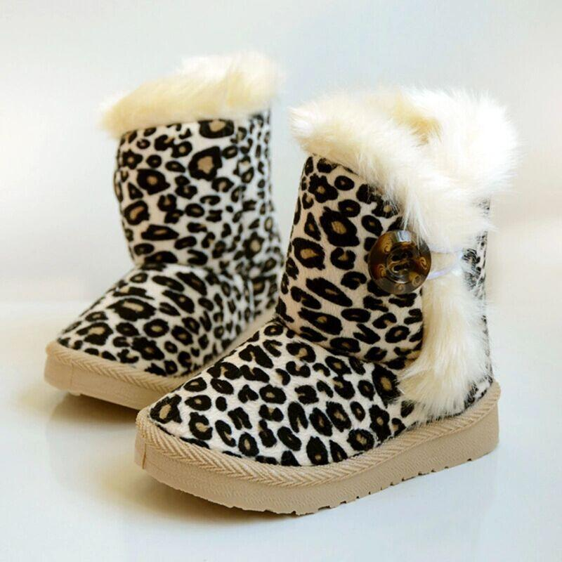 Winter Kids Boots Girls Boys Shoes Fashion Leopard Snow Boots Kids ...
