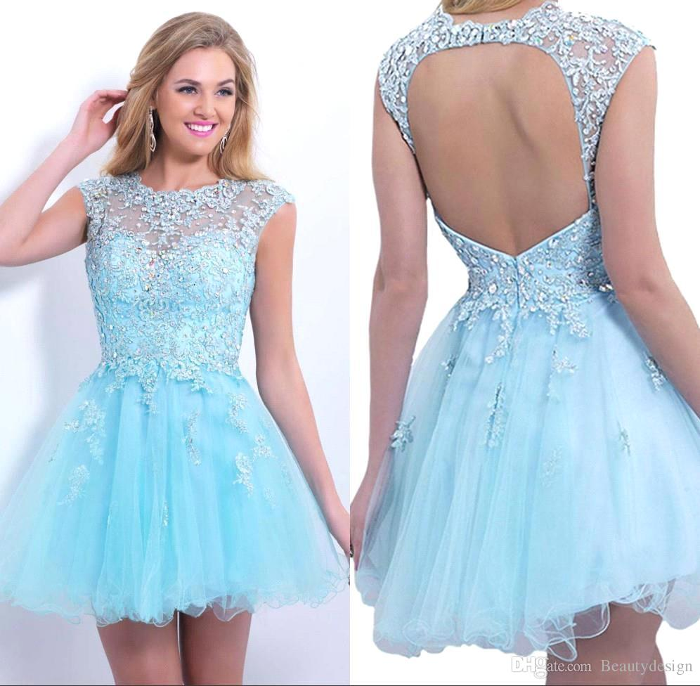 Cheap Sheer Short Homecoming Dresses 2015 Cap Sleeve Beaded ...