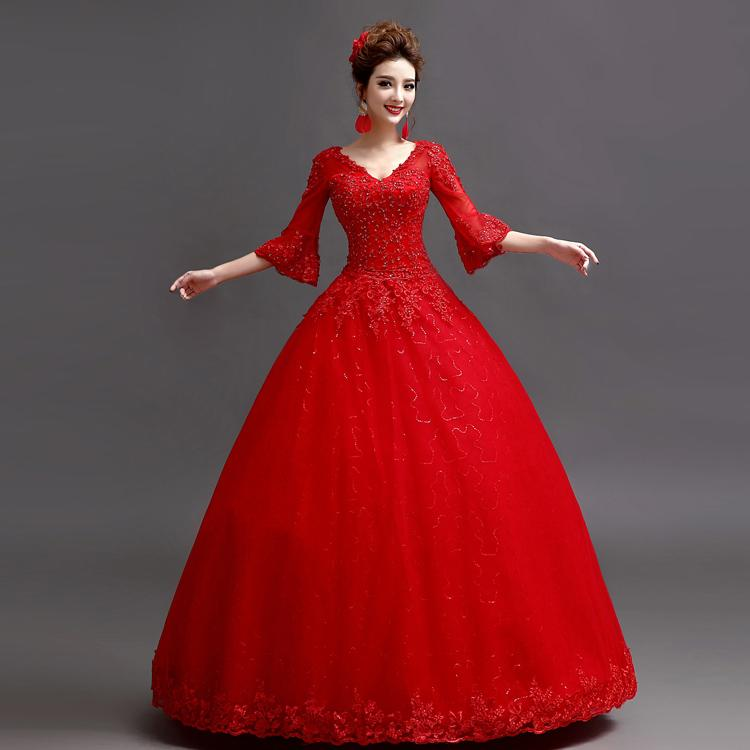 Robes de mode: Robe longue en dentelle rouge