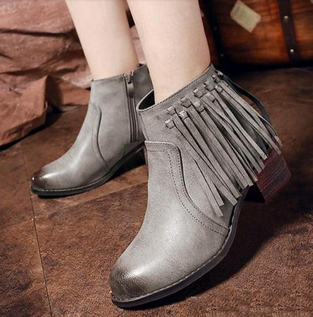 Korea Style Gradient Grey Tassles Fringe Boots Chunky Heel Shoes ...