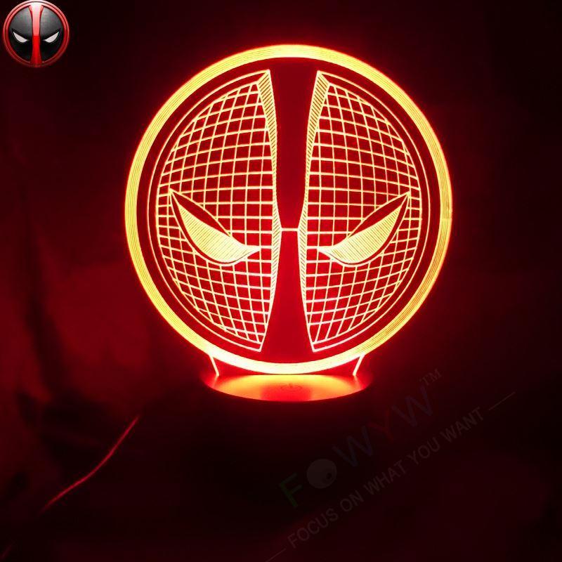 2017 2016 Marvel Superhero Logo Deadpool Mask 3d Lamp