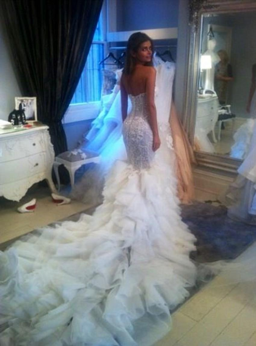 Steven khalil couture wedding dress cathedral train for Steven khalil mermaid wedding dress