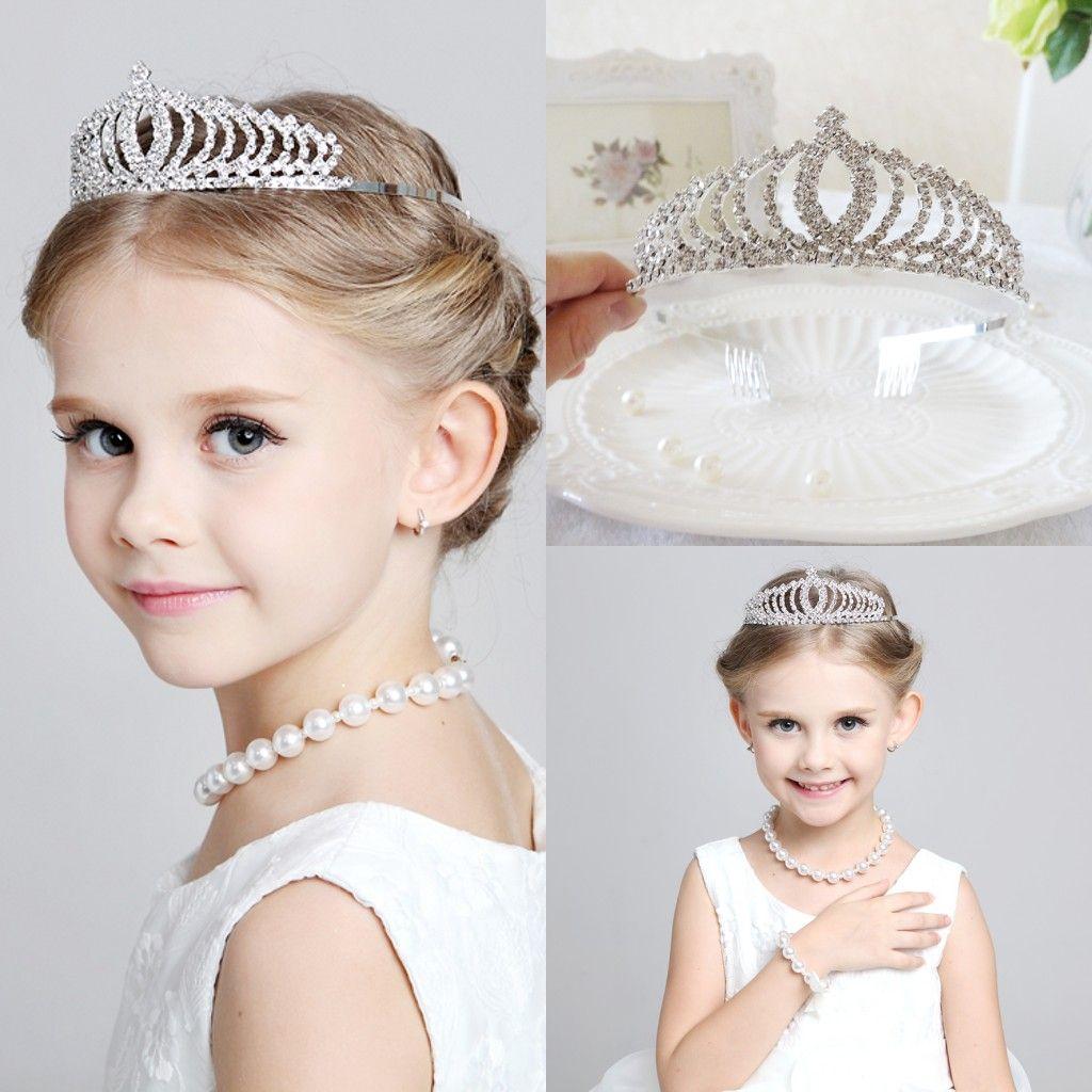 Newest 2015 Tiaras Sparkling Rhinestone Tiara Wedding Flower Girl Crowns Chil