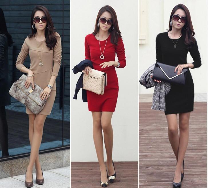 New Vestidos Winter Dress Women Casual Ol Office Long Sleeve ...