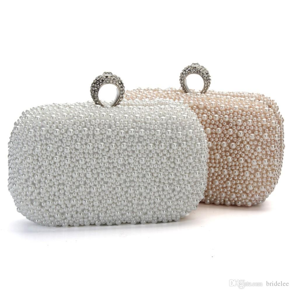 2015 Women Evening Clutch Bag Gorgeous Pearl Crystal Beading ...
