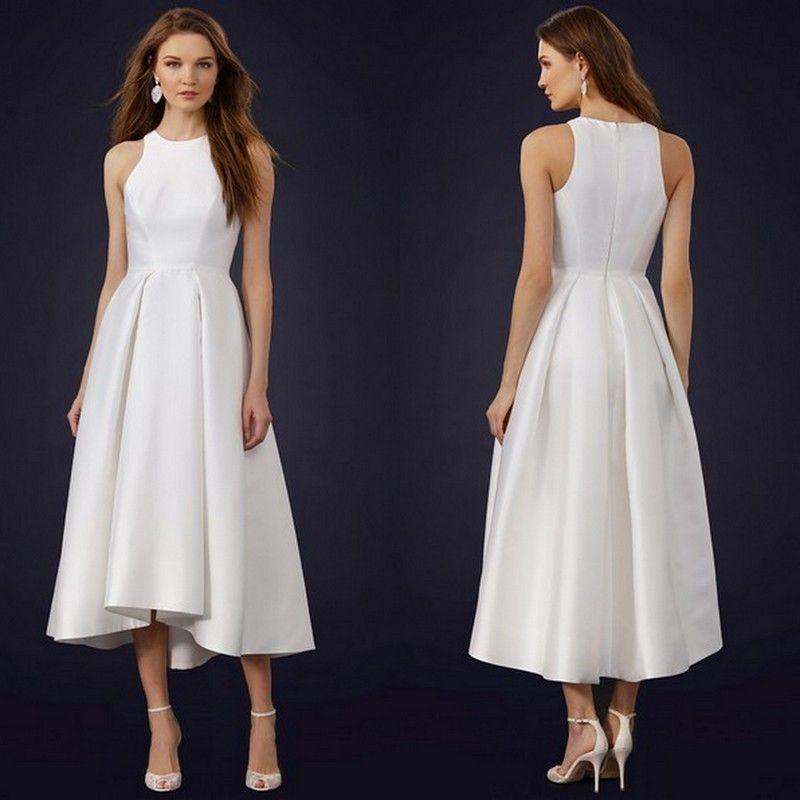 Discount halter neck simple wedding dresses 2015 cheap for Simple ankle length wedding dresses