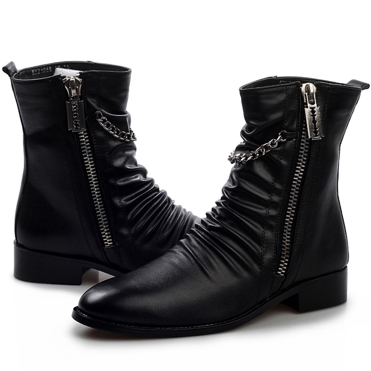 Cool Stylish Pleated Leather Motorcycle Ankle Boots Mens Punk Rock ...