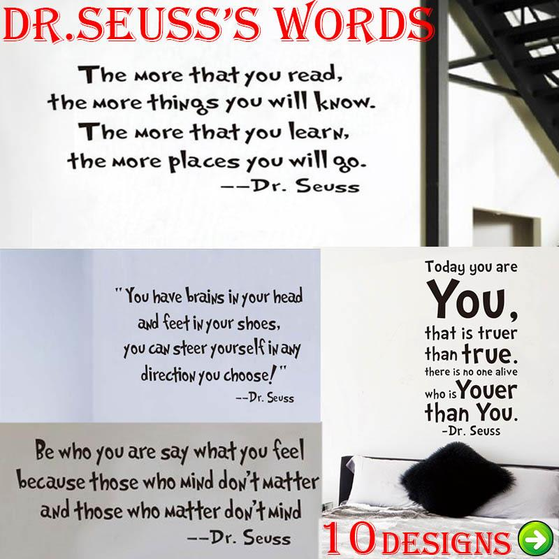 Seuss Inspirational Quote Wall Stickers Office Living Room Decoration 8074.  Vinyl Adesivo De Parede Home Decal Mural Art 4.0