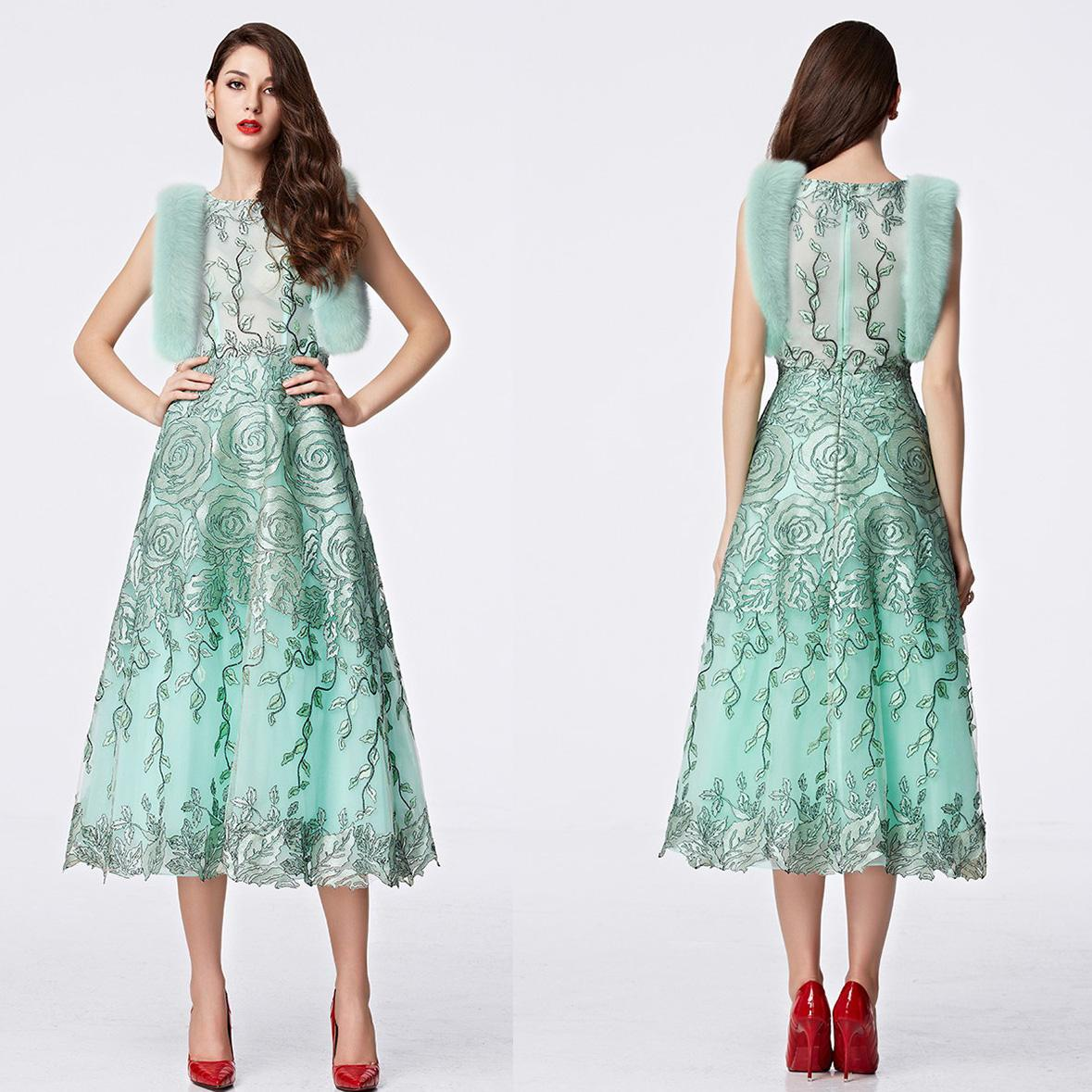 y Light Green Long Cocktail Dresses 2016 A Line Jewel