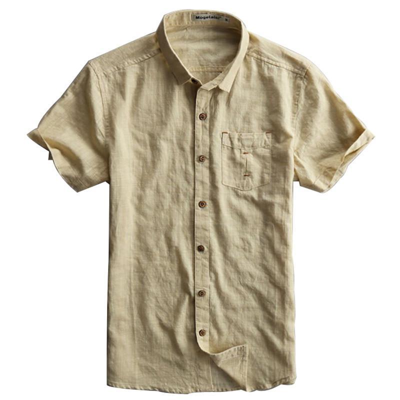 Mens short sleeve slim fit shirts artee shirt for Mens light blue linen shirt