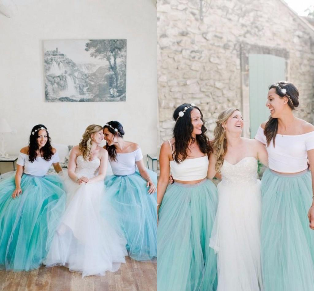 Mint green tulle tutu skirts 2016 bridesmaid dresses for for Green beach wedding dresses