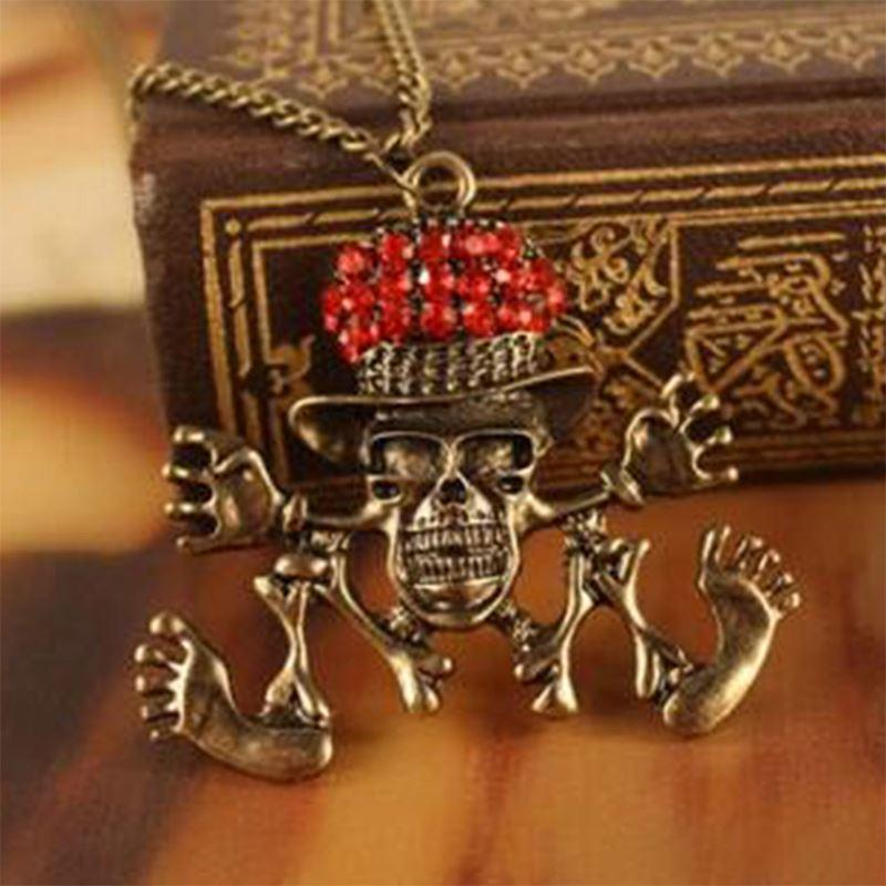 2017 fashion dance skull necklace rhinestone hat dancing for Red hat bling jewelry