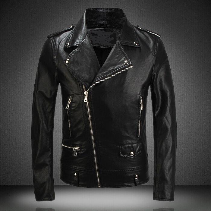 Super Quality!!!New Leather Jacket 2015 Fashion Mens Diagonal ...