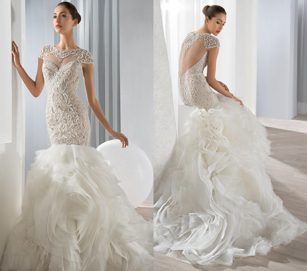 2015 Heart Shaped Back Mermaid Wedding Dresses Cascading