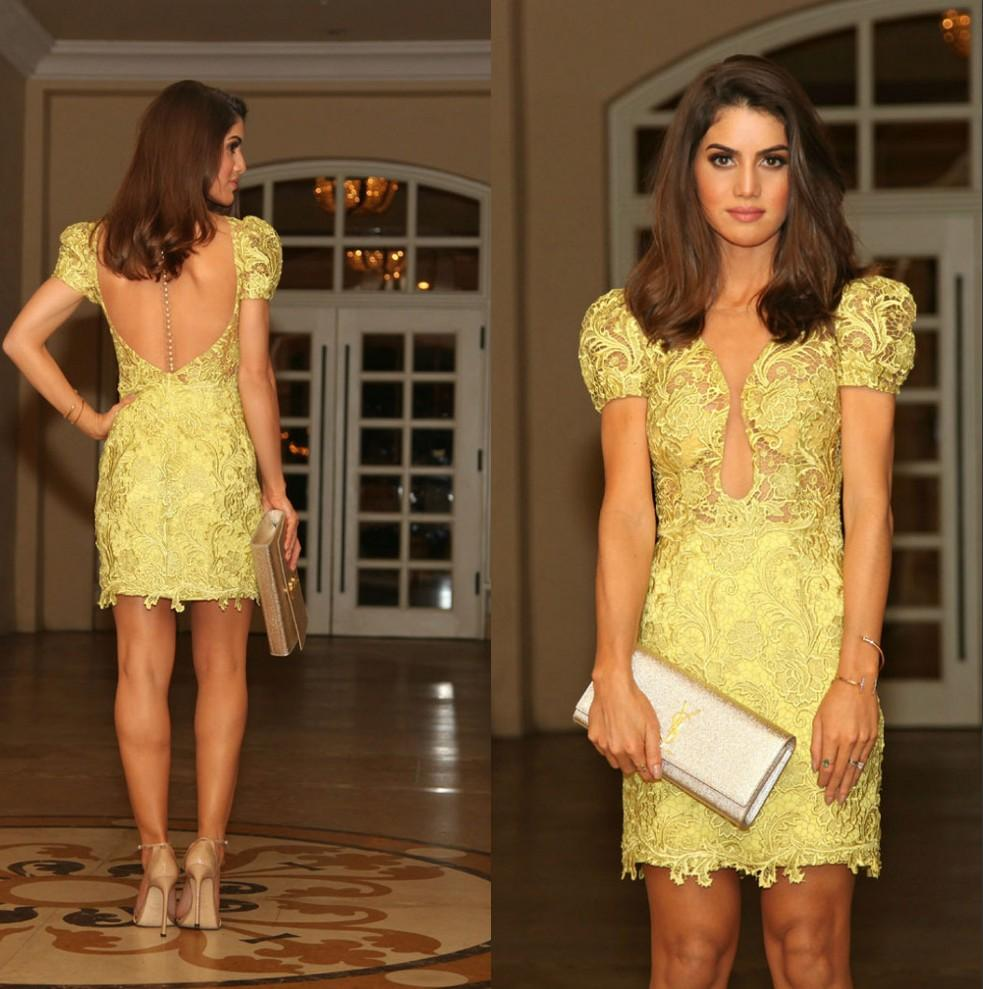 Beautiful Yellow Lace Short Cocktail Dress 2015 See through Mini ...