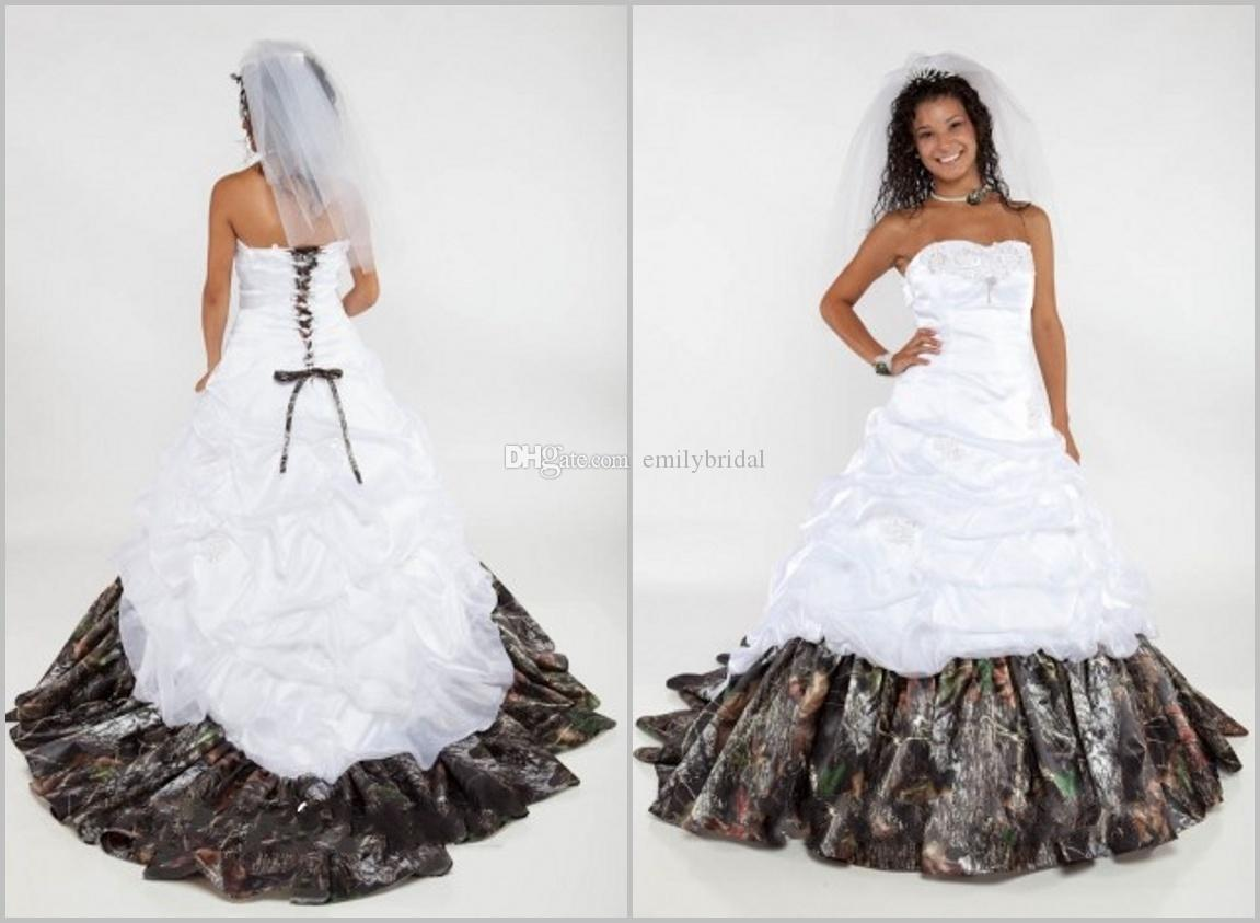 2015 Sweetheart Ball Gown Camo Wedding Dress 2015 Draped