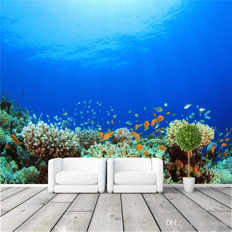 Large custom ocean coral photo wallpaper freedom sea world wall mural children 39 s room nursery - Sea coral wallpaper ...