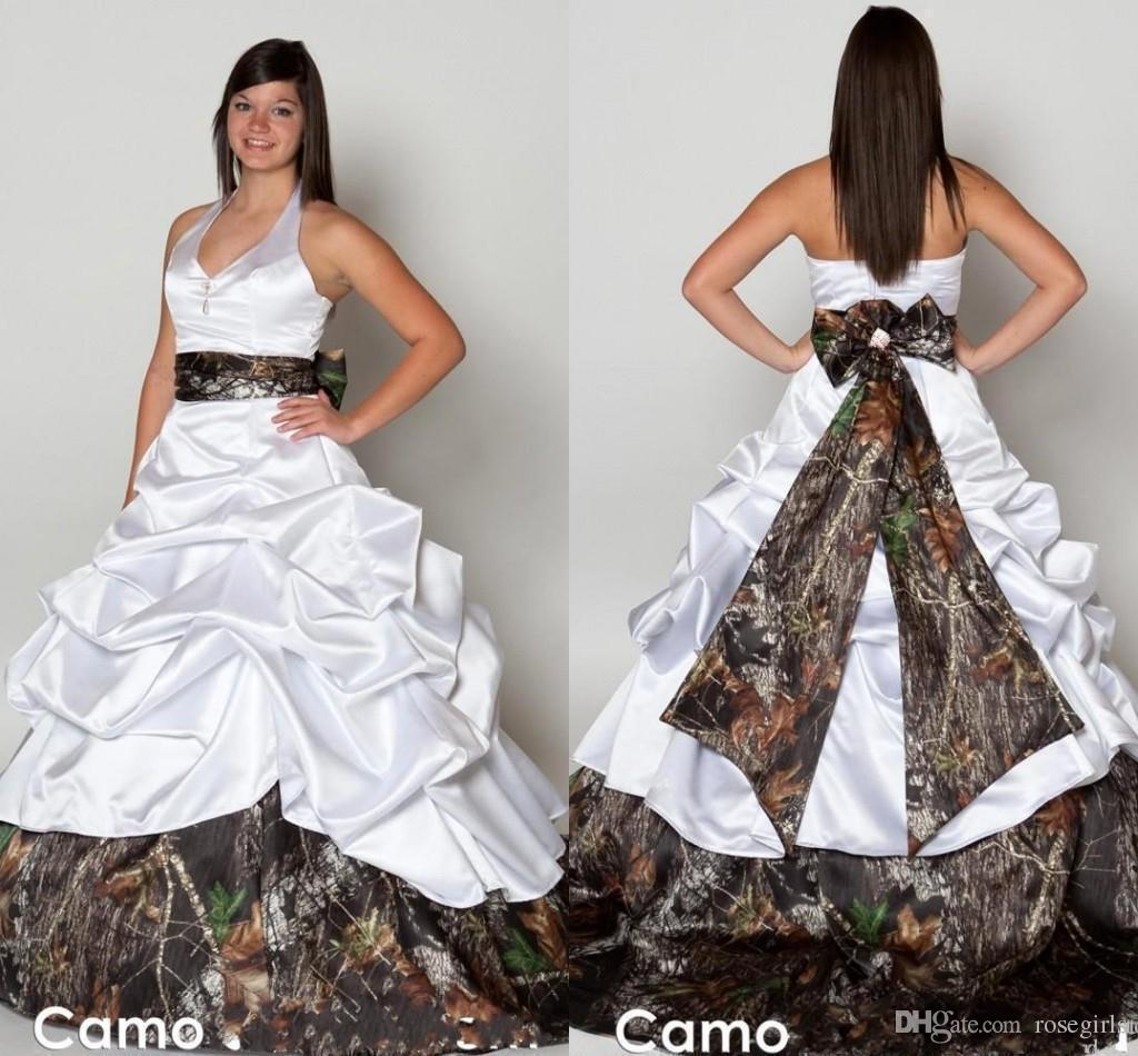 Discount new arrival camo wedding dresses 2016 a line for Camo ribbon for wedding dress