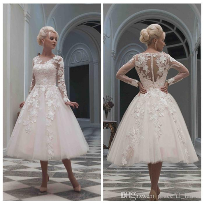 Discount short wedding dress long sleeves lace appliques v for 50s style wedding dresses