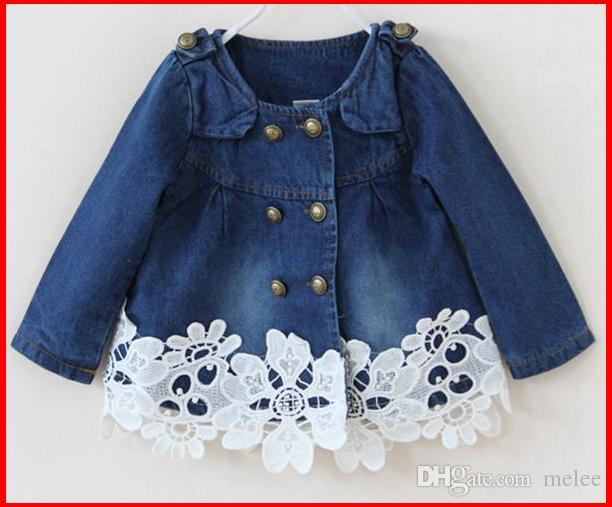 2016 New Girls Floral Lace Bottom Double-breasted Denim Jacket