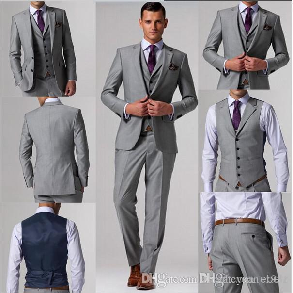 Wholesale - Custom Made Suits Light Grey Groom Tuxedos Suits ...