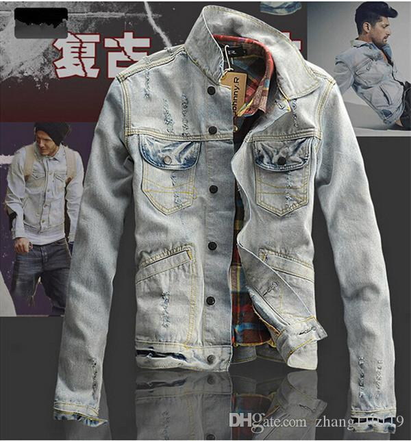 2016 New Spring Mens Denim Jacket Coat Ripped Distressed Acid ...
