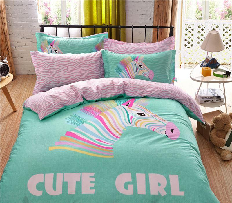 2017 Bright Pink Turquoise Color Bedding Set Full Queen