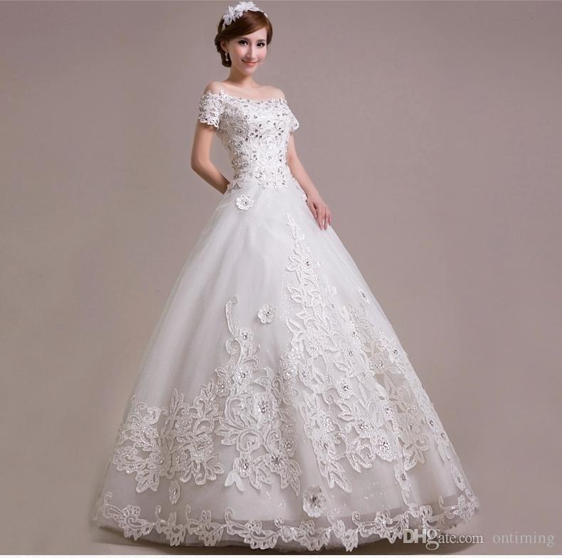 White 2015 spring garden cap sleeve wedding dresses ball for Wedding dresses spring tx