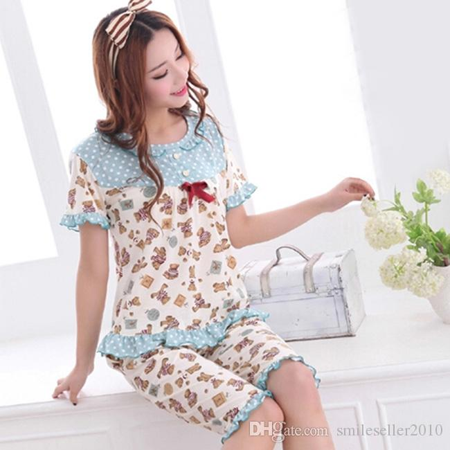 Online Cheap Plus Size Cotton Blue Pajamas Set For Women ...
